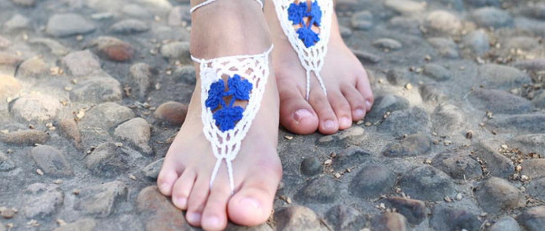 Босые сандалии из бисера своими руками