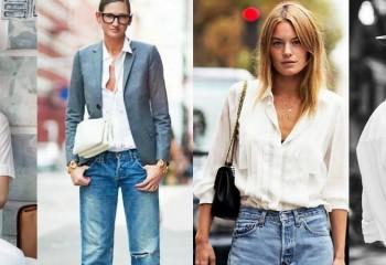 С чем можно носить белую женскую рубашку