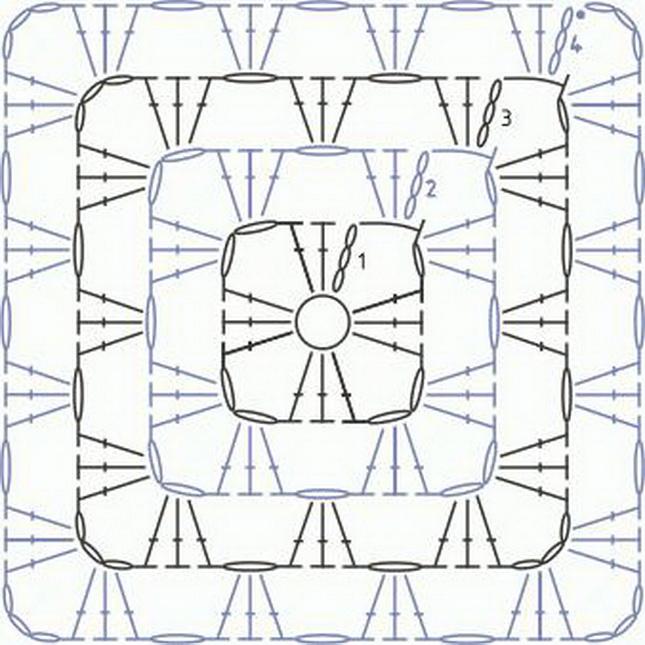 0202-53 Детский плед из квадратов крючком