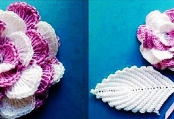 Цветок на шапку, вязаный крючком