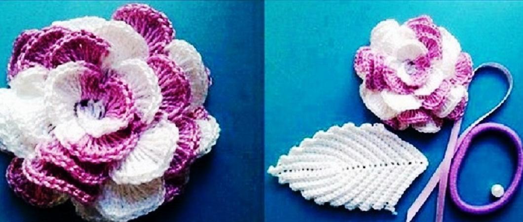как связать крючком цветок на шапку схемы и видео