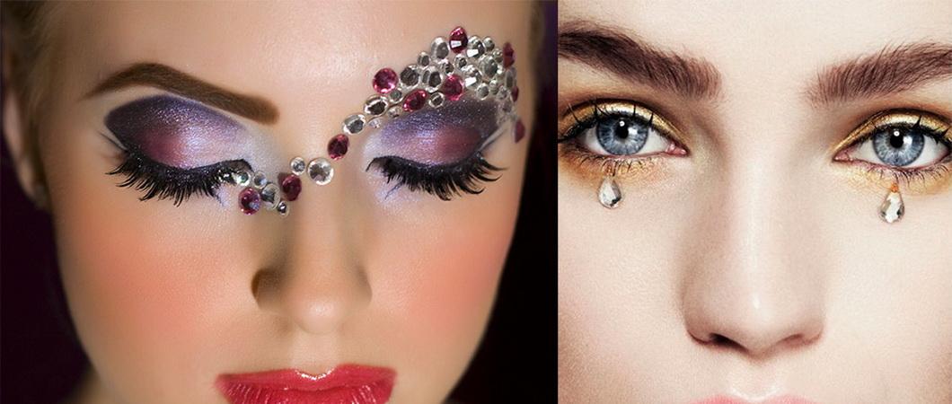 Красивый макияж со стразами