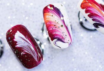 Дизайн ногтей с помощью нитки